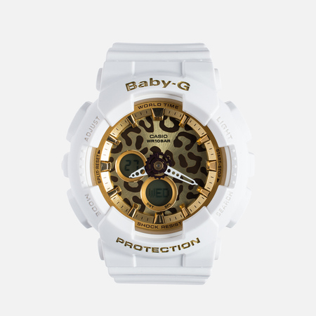 Женские наручные часы Casio Baby-G BA-120LP-7A2 Leopard Pattern White/Gold