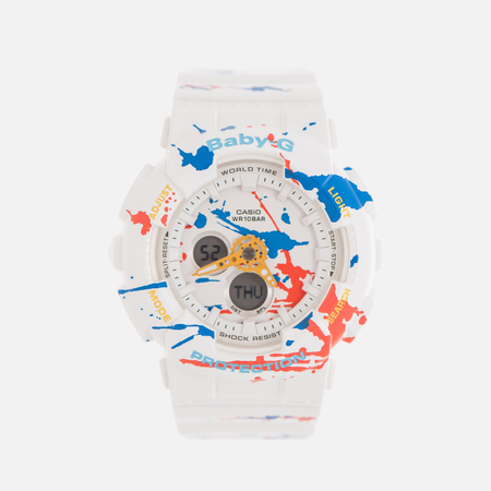 Женские наручные часы CASIO Baby-G BA-120SPL-7A Splatter Pattern Street Art Pack White