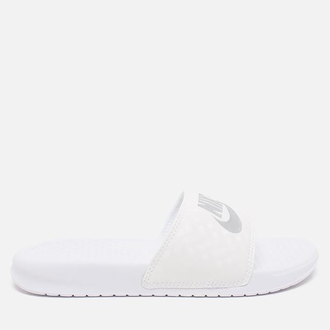Женские сланцы Nike Benassi JDI Midnight White/Silver