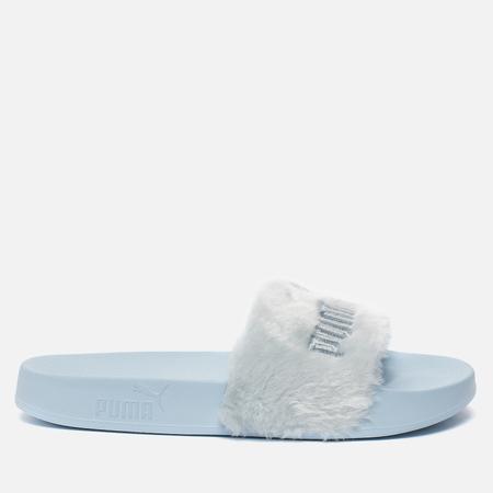 Женские сланцы Puma x Rihanna Fenty Fur Slide Cool Blue/Puma Silver