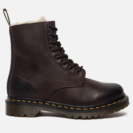 Женские зимние ботинки Dr. Martens Serena Fur Lined Burnished Wyoming Dark Brown