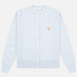 Maison Kitsune Merinos Fancy R-Neck Women's Сardigan Light Blue Melange photo- 0
