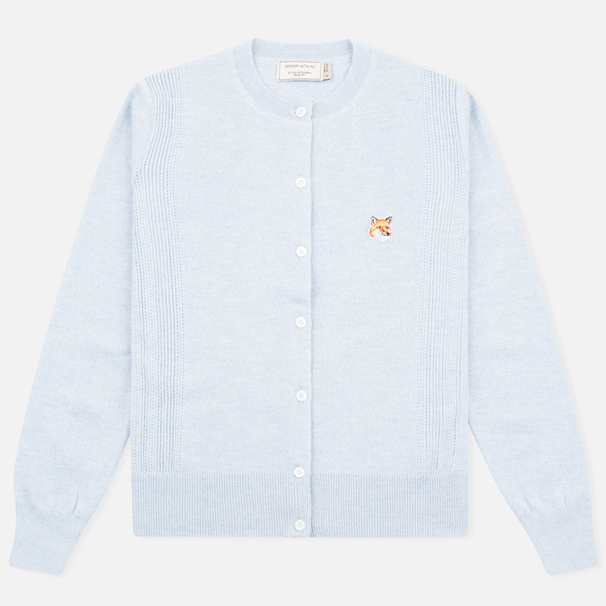 Maison Kitsune Merinos Fancy R-Neck Women's Сardigan Light Blue Melange
