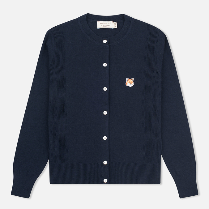 Женский кардиган Maison Kitsune Merinos Fancy R-Neck Navy