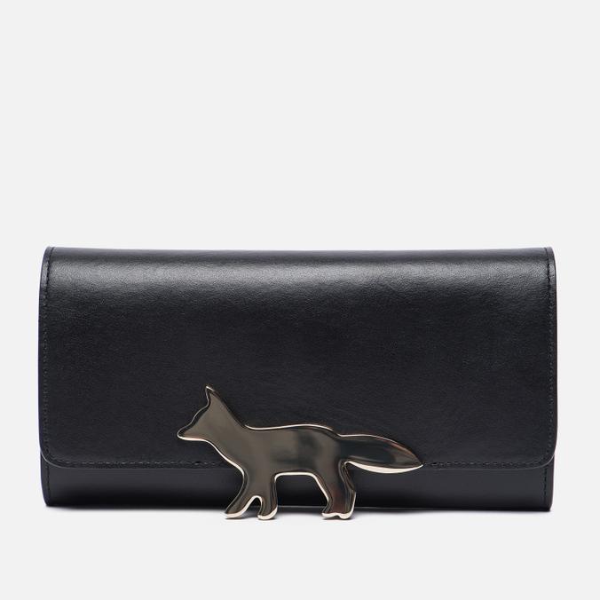 Женский кошелек Maison Kitsune Long Leather Black