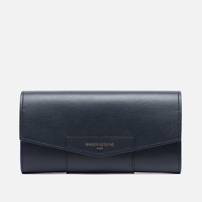 Женский кошелек Maison Kitsune Long Leather Dark Navy