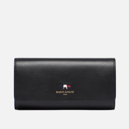 Женский кошелек Maison Kitsune Tricolor Long Leather Black