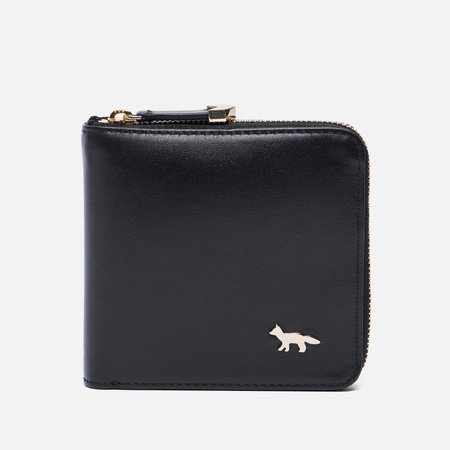 Женский кошелек Maison Kitsune Zipped Leather Black