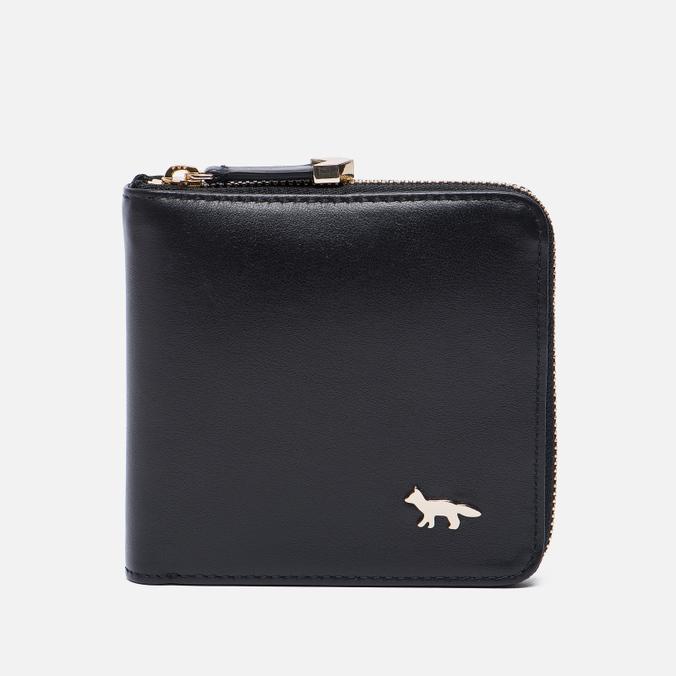 Женский кошелек Maison Kitsune Zipped Leather Black