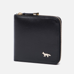 Женский кошелек Maison Kitsune Zipped Leather Black фото- 1