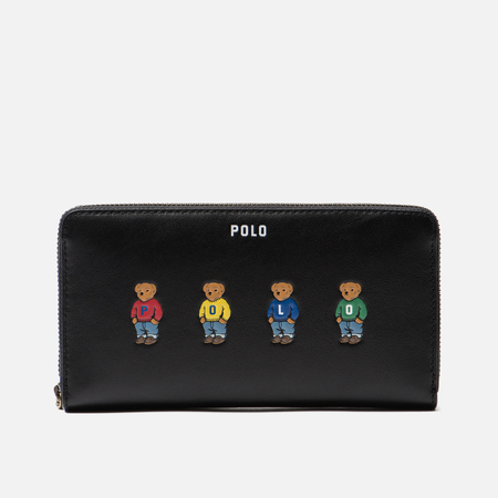 Кошелек Polo Ralph Lauren Bear Embroidered Nappa Long Zip Black