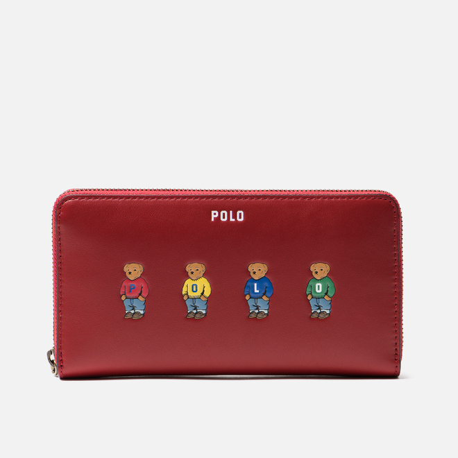 Кошелек Polo Ralph Lauren Bear Embroidered Nappa Long Zip Scarlet