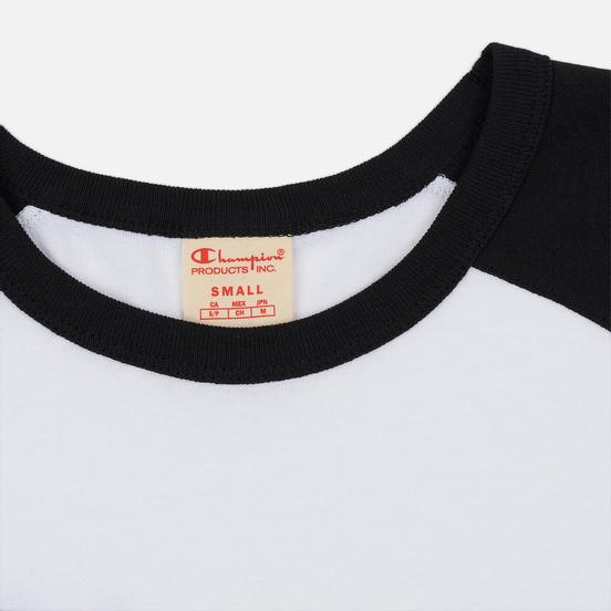 Женский лонгслив Champion Reverse Weave Big Script Color Block Crew Neck Black/White