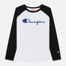Женский лонгслив Champion Reverse Weave Big Script Color Block Crew Neck Black/White фото- 0