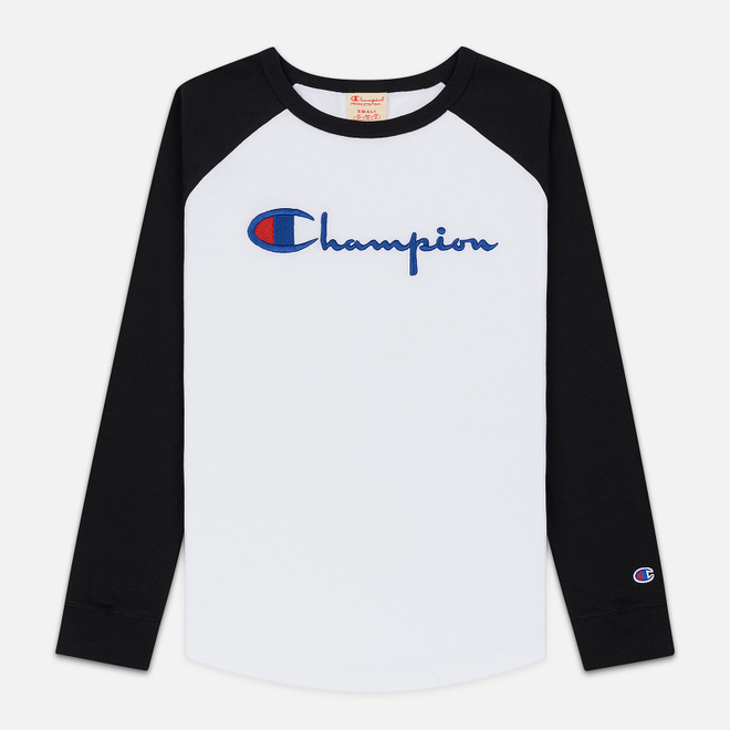 Женский лонгслив Champion Reverse Weave Big Script Color Block Crew Neck Black/White