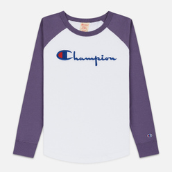 Женский лонгслив Champion Reverse Weave Big Script Color Block Crew Neck Mulled Grape/White