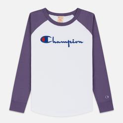 Женский лонгслив Champion Reverse Weave Big Script Color Block Crew Neck Mulled Grape/White