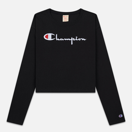 Женский лонгслив Champion Reverse Weave Big Script Cropped Black