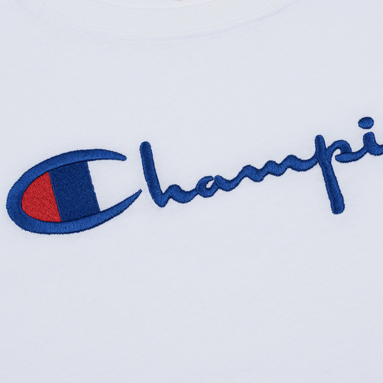 Женский лонгслив Champion Reverse Weave Big Script Cropped White