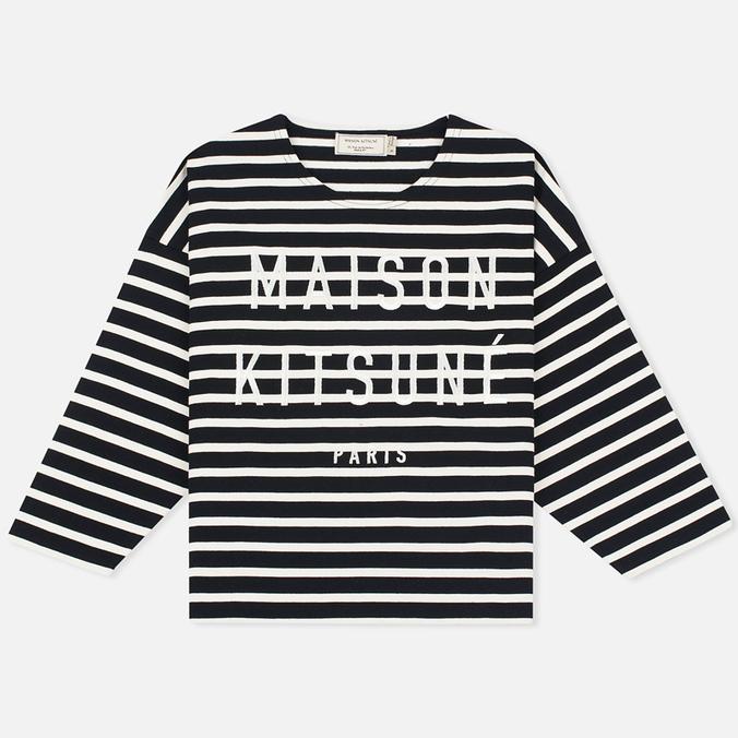 Женский лонгслив Maison Kitsune Marin Cropped Black Ecru