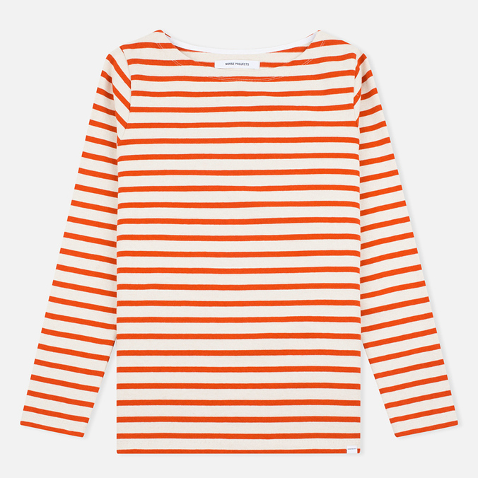 Norse Projects Inge Stripe Women's Longsleeve Ecru/Orange