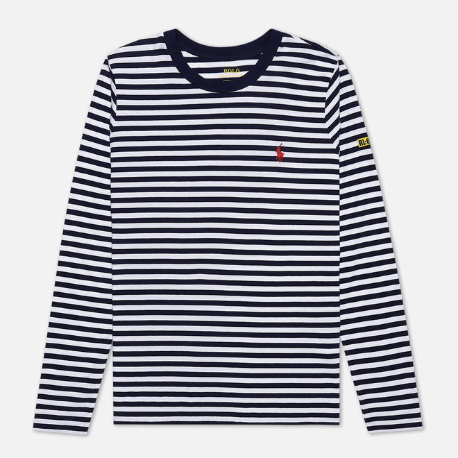 Женский лонгслив Polo Ralph Lauren Stripe Polo Pony Mini Logo Cruise Navy/White