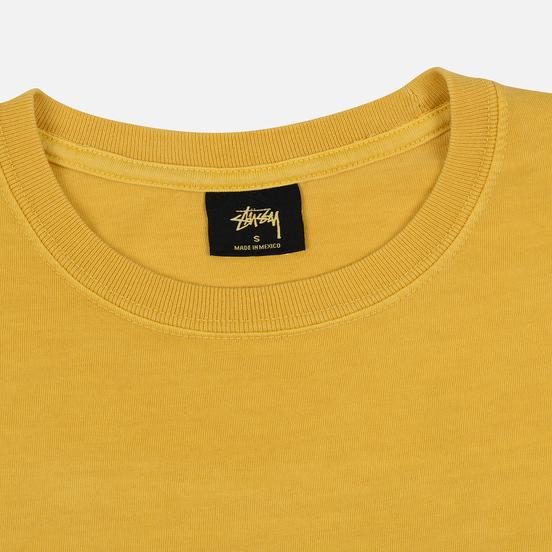Женский лонгслив Stussy Basic Logo Pigment Dyed Mustard