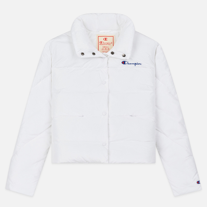 Женский пуховик Champion Reverse Weave Back Script Puff White