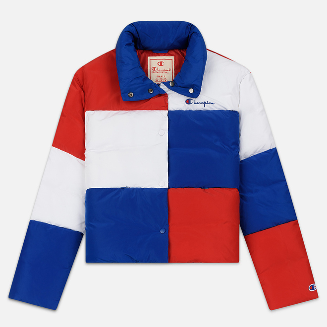 Женский пуховик Champion Reverse Weave Color Block Puff Blue/Red/White
