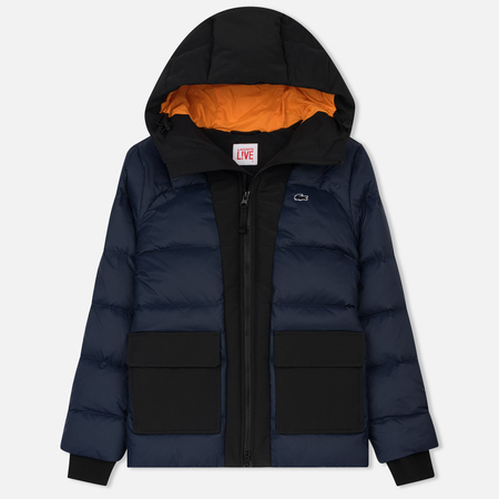 Женский пуховик Lacoste Live Hooded Wide Pocket Quilted Navy Blue/Black
