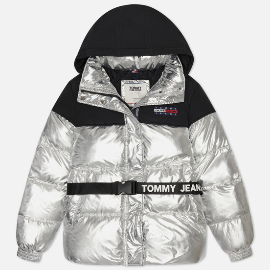 Женский пуховик Tommy Jeans Mix Media Belted Silver