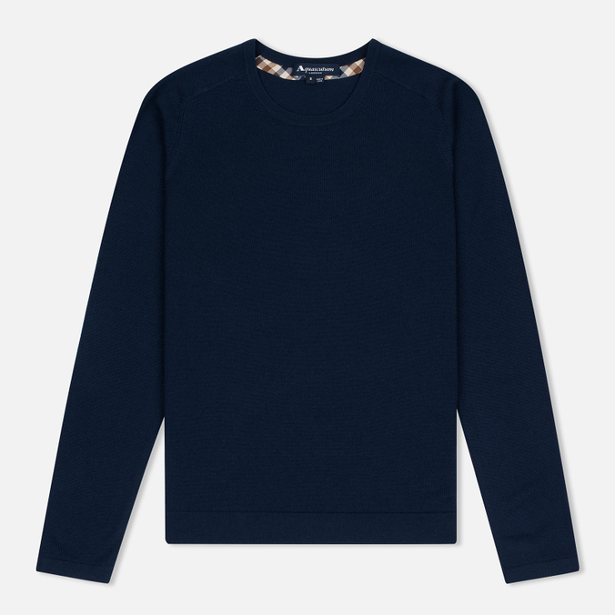Женский свитер Aquascutum May Club Check Trim Crew Neck Navy