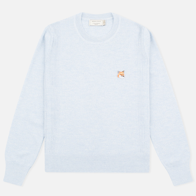 Женский свитер Maison Kitsune Merinos Fancy R-Neck Light Blue Melange