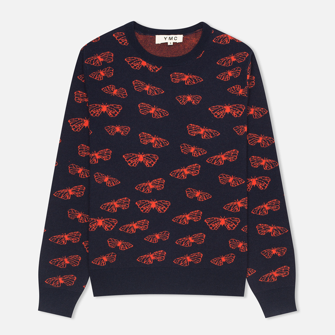 Женский свитер YMC Butterfly Crew Neck Navy/Red