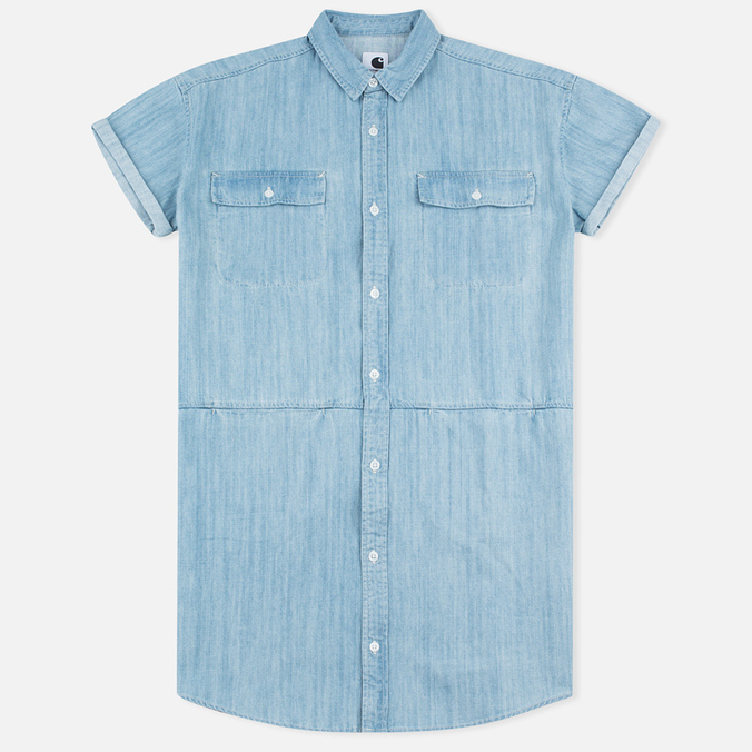 Carhartt WIP W' SS Corry Denim 6.5. Oz Dress Blue Super Bleached