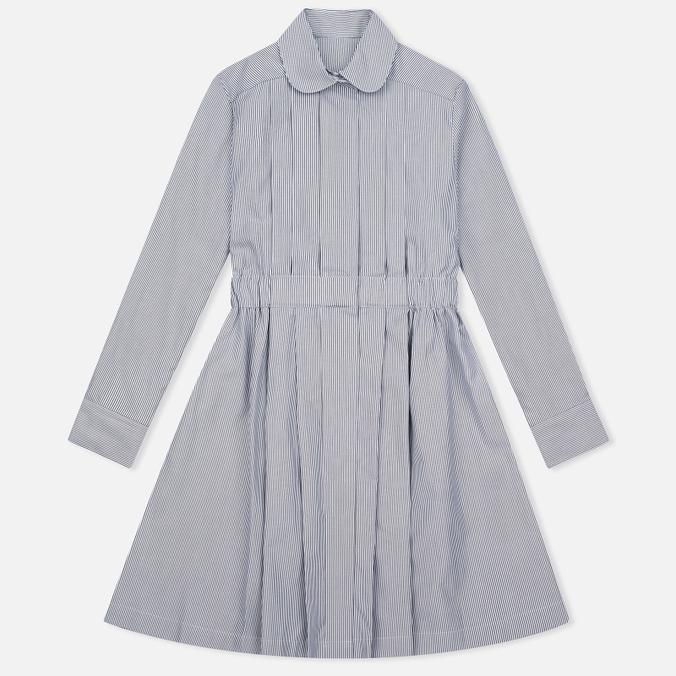 Женское платье Maison Kitsune Oxford Thin Stripes Pleated Black Stripes