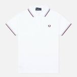 Женское поло Fred Perry G12 White/Ice/Maroon фото- 0