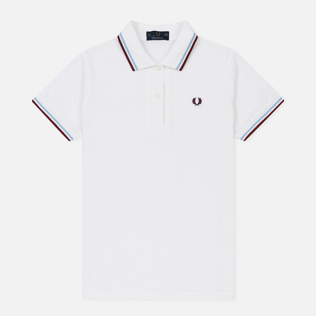 Женское поло Fred Perry G12 White/Ice/Maroon