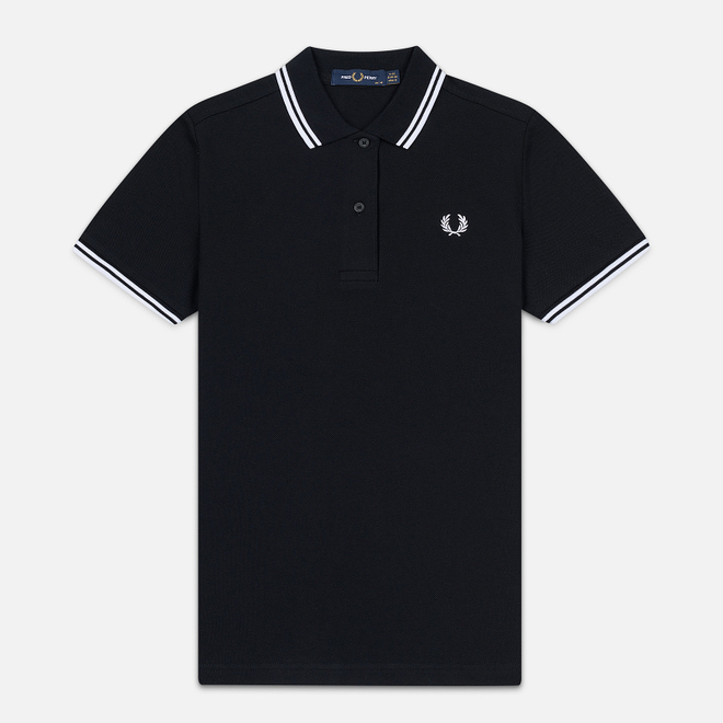 Женское поло Fred Perry G3600 Twin Tipped Pique Black/White/White