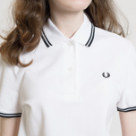 Женское поло Fred Perry G3600 Twin Tipped White/Black фото- 7