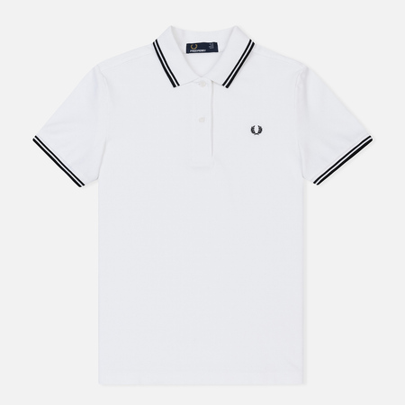 Женское поло Fred Perry G3600 Twin Tipped White/Black