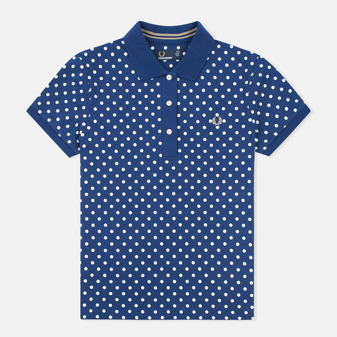 Женское поло Fred Perry Polka Dot Collar Medieval Blue