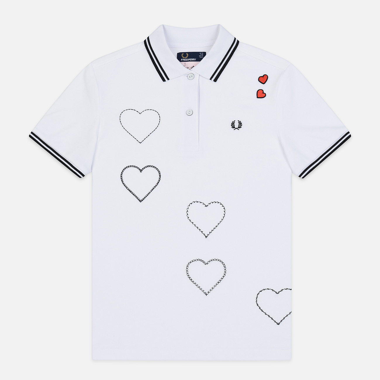 Женское поло Fred Perry x Amy Winehouse Embroidered Heart Pique White