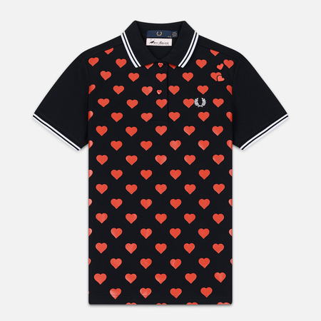 Женское поло Fred Perry x Amy Winehouse Heart Print Pique Black