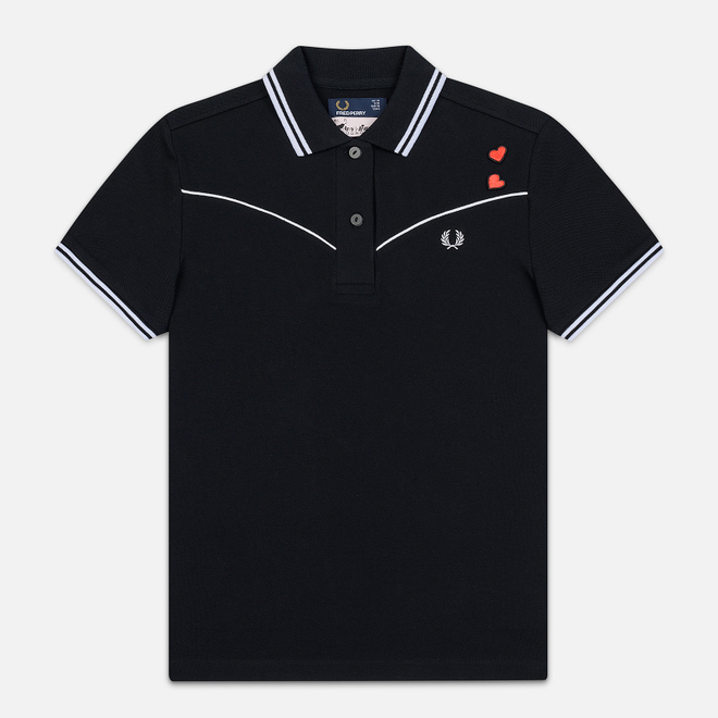 Женское поло Fred Perry x Amy Winehouse Piped Black