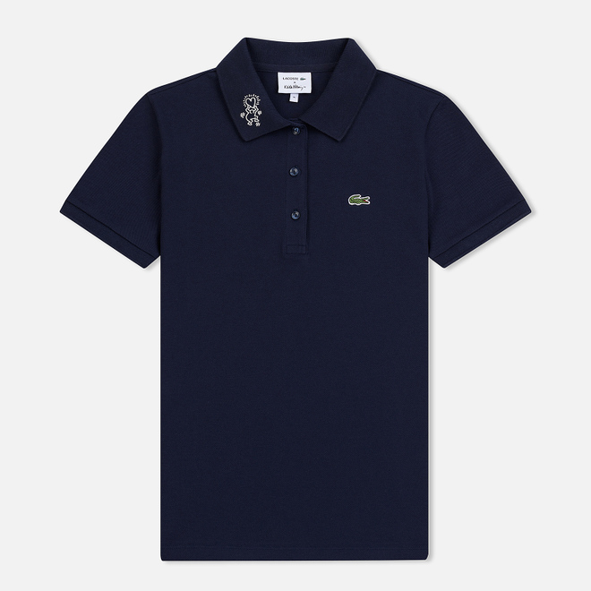 Женское поло Lacoste x Keith Haring Design Collar Slim Fit Stretch Mini Navy Blue