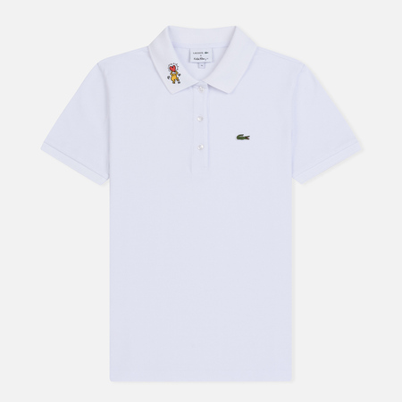 Женское поло Lacoste x Keith Haring Design Collar Slim Fit Stretch Mini White