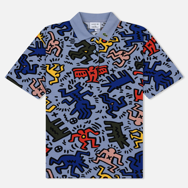 Женское поло Lacoste x Keith Haring Print Relaxed Fit Light Blue/White