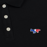 Женское поло Maison Kitsune Tricolor Fox Patch Black фото- 3