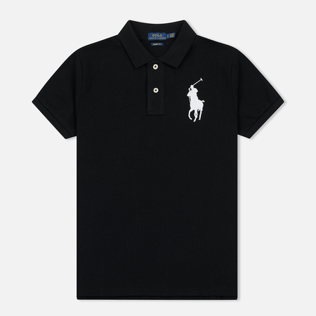 Женское поло Polo Ralph Lauren Embroidered Big Logo Slim Fit Black
